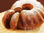 Вкусен и лесен домашен шарен кекс с орехи и какао